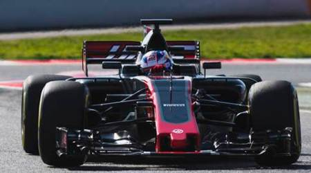 The new Haas VF-17 was test driven at the Montmelo racetrack in Barcelona, Spain. (Source: AP)