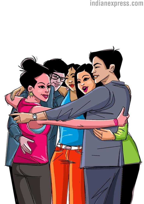 Group Hug. (Illustration by Shyam Kumar Prasad)