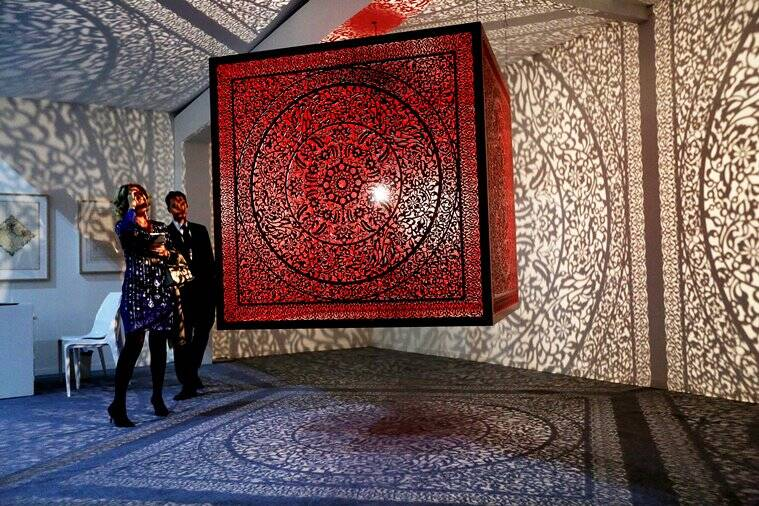 Art and sculptural pieces on display on the inaugural day of the India Art fair in the capital New Delhi on thursday. Express Photo by Tashi Tobgyal New Delhi 020217