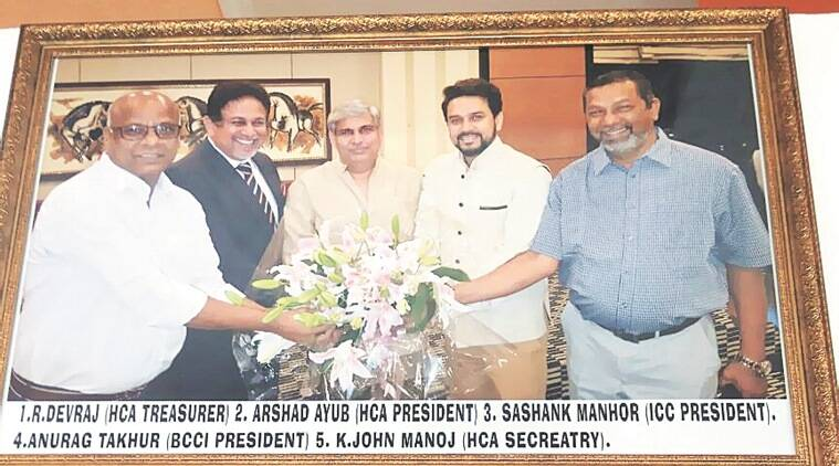 ICC boss Shashank Manohar and deposed BCCI president Anurag Thakur during happier times. (Source: Indian Express)