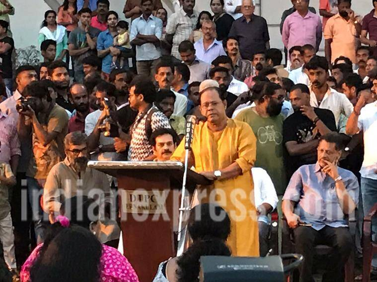 Association of Malayalam Movie Artists (AMMA) president Innocent at protest event in Kochi