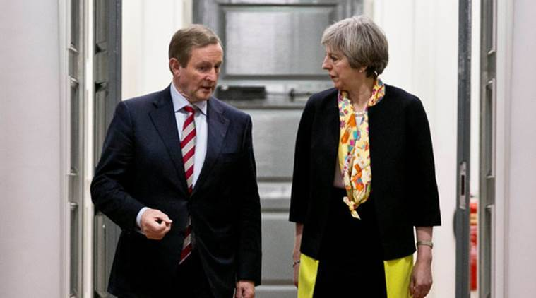 Irish Prime Minister Enda Kenny and British Prime Minister Theresa May attend a bilateral meeting at Government Buildings in Dublin January 30, 2017. REUTERS/Chris Bellew/Fennell Photography/Pool