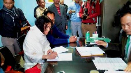 Thoubal:  Irom Sharmila files nomination at DC Office for upcoming assembly election of Manipur in Thoubal constituency  in Manipur, on Thursday.   PTI Photo  Manash Pratim Gogoi   (PTI2_16_2017_000183B)