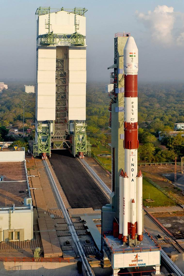 Sriharikota: India's trusted workhorse, the PSLV-C37, which will carry104 satellites, on the eve of its launch at the spaceport in Sriharikota on Tuesday. PTI Photo (PTI2_14_2017_000251B)