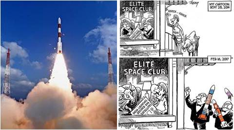 isro, nyt, nyt isro cartoon, toi nyt isro cartoon, NYT ISRO Cartoon, NYT ISro mangalyaan cartoon, PSLV-C37, Indian Space Research Organisation, ISRO, 104 satellites, ISRO record, ISRO world record, india news, indian express news, isro record satellite launch,