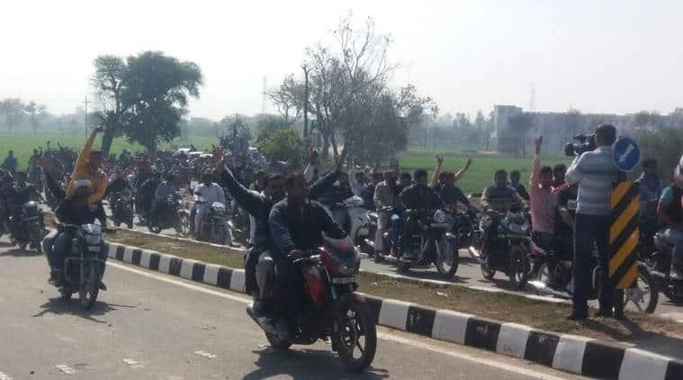 jat quota stir, students bike rally, jat agitation, youth bike rally, youth rally, students rally, youth agitation, students agitation, indian express news