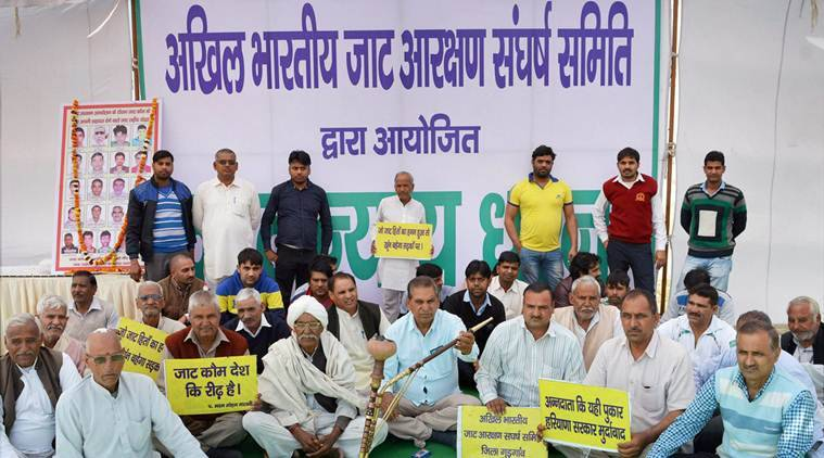Gurugram: Jat community holding protest demanding reservation in OBC quota near Dwarka Expressway in Gurugram on Saturday.PTI Photo(PTI2_11_2017_000169A)