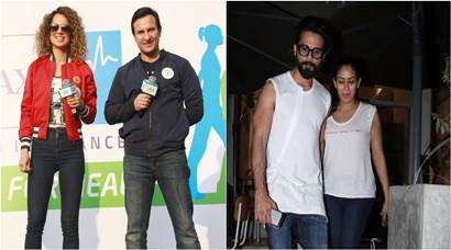 Kangana Ranaut and Saif Ali Khan promote Rangoon, Shahid Kapoor hangs out with wife Mira Rajput
