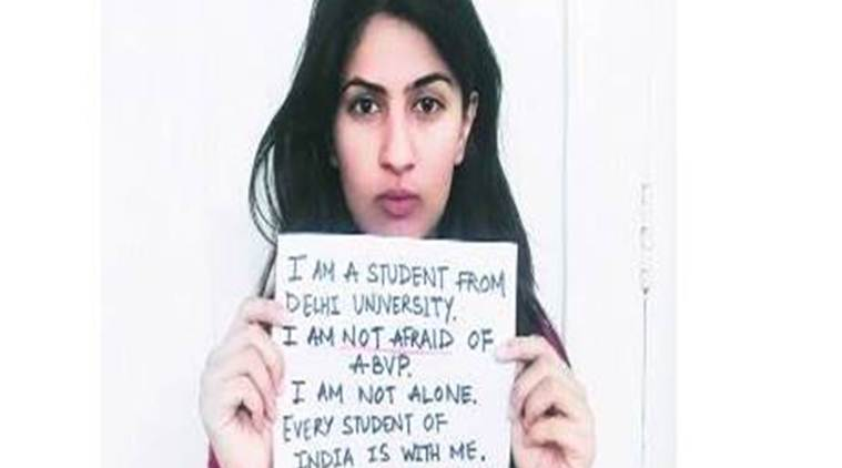 gurmehar kaur, soldier daughter, army martyr daughter threatened, gurmehar kaur abvp, martyr daughter abvp, kargil martyr, kargil martyr daughter, gurmehar kaur threatened, gurmehar kaur rape threat, ramjas college, ramjas violence, anti national, nationalism