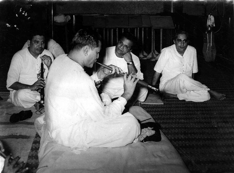 Bismillah Khan with music director Vasant Desai and producer-director Vijay Bhatt at a recording session for Goonj Uthi Shehnai. (Source: Express Archive)