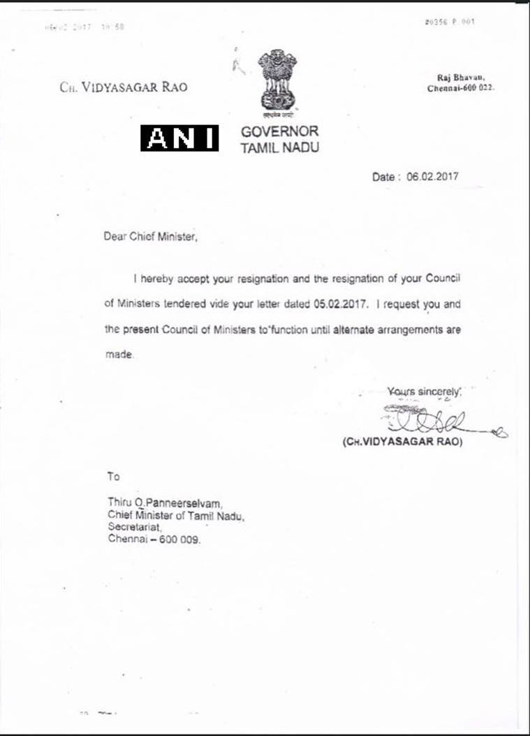 tamil nadu governor accepts panneerselvam s resignation the due to my personal reasons i am tendering my resignation from the post of chief minister of tamil nadu kindly accept my resignation and relieve the