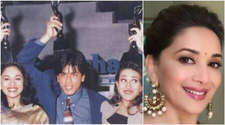 Madhuri Dixit shares throwback pic with Shah Rukh, Karisma. Why? Because it's Valentine's Day