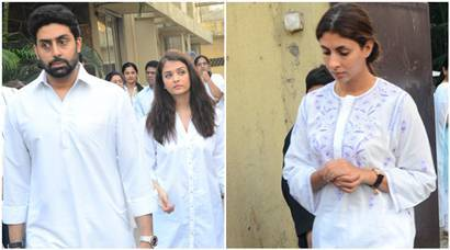 Aishwarya Rai Bachchan, Abhishek Bachchan attend friend's funeral with family