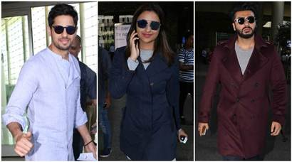 Sidharth Malhotra, Parineeti Chopra and Arjun Kapoor travel wearing their best smiles
