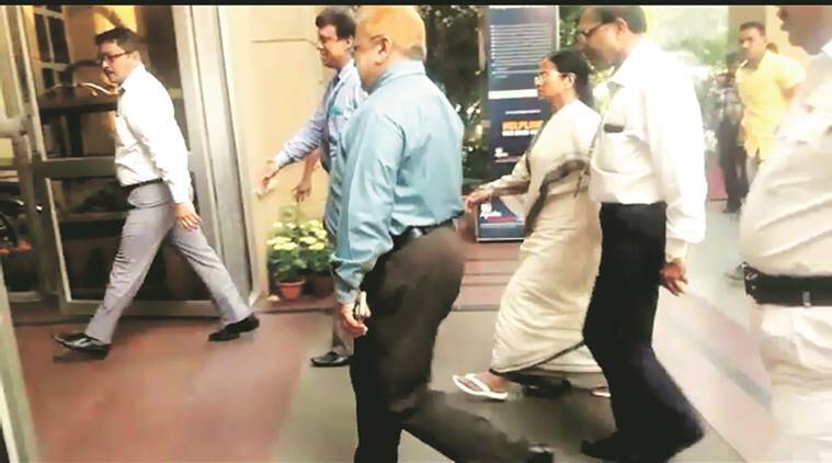 Mamata at the hospital on Saturday.  Express