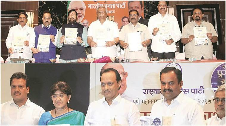 (Left) The BJP released its election manifesto on Friday while the NCP released its manifesto on December 29.