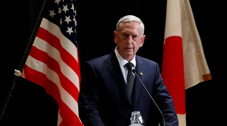 U.S. Defense Secretary Jim Mattis speaks at a joint news conference with  Japan's Defense Minister Tomomi Inada after their meeting at the Defense Ministry in Tokyo, Japan, February 4, 2017. REUTERS/Toru Hanai