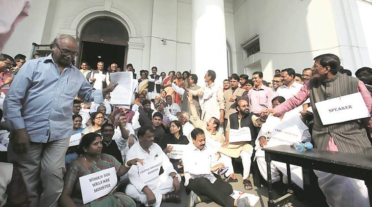 Opposition MLAs outside the Assembly.  Subham Dutta