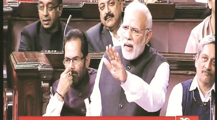 Prime Minister Narendra Modi accused predecessor Manmohan Singh of looking the other way while a lot of scams and corruption occurred when he was in office, in the Rajya Sabha in New Delhi on Wednesday.  PTI