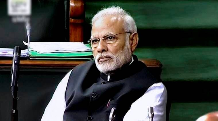 New Delhi: Prime Minister Narendra Modi in the Lok Sabha in New Delhi on Wednesday. PTI Photo / TV GRAB(PTI2_8_2017_000050B)