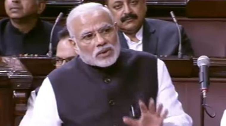 Narendra Modi, Modi, PM Modi rajya sabha, PM Modi speech, Modi's RS address, BJP, Congress, opposition, PM Modi demonetisation, Masood Azhar, Sasikala, Tamil nadu, panneerselvam, Donald trump, Trump, US, Trump travel ban, RBI, cashless, cash withdrawal, india news, indian express news, top 5 news,