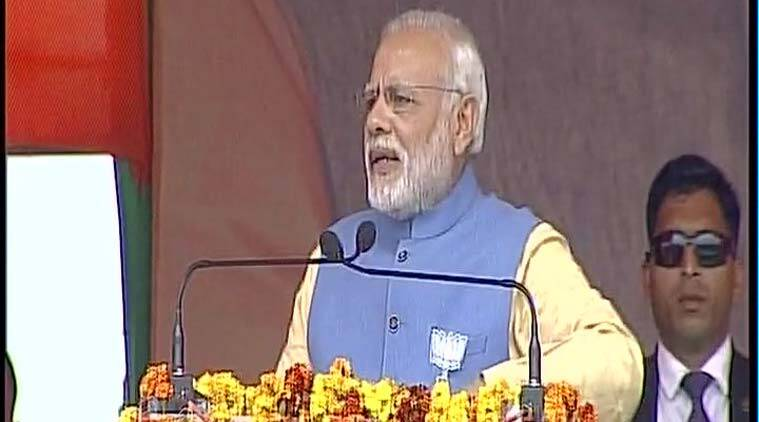 PM Modi at the rally in Aligarh on Sunday. (Source: Twitter/@ANI_news)
