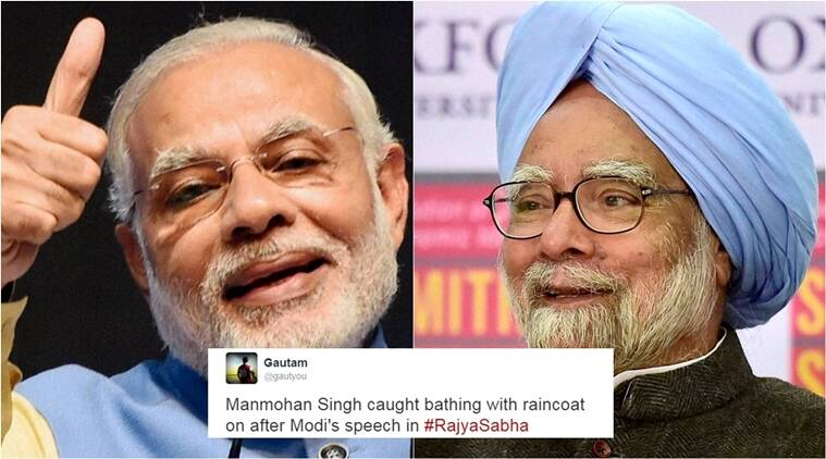 Political Narendra Modi Manmohan Singh Narendra Modi Manmohan Singh Narendra Modi Twitter Jokes The Indian Express Narendra Modis raincoat In Bathroom Comment For Manmohan Singh