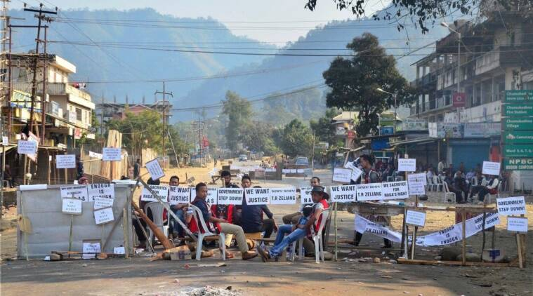 Dimapur: Bandh supporters block the highway during a strike call given by Joint Coordination Committee against 33% Women Reservation and killing of two person in Police firing in Dimapur, Nagaland on Friday. PTI Photo (PTI2_3_2017_000273A)