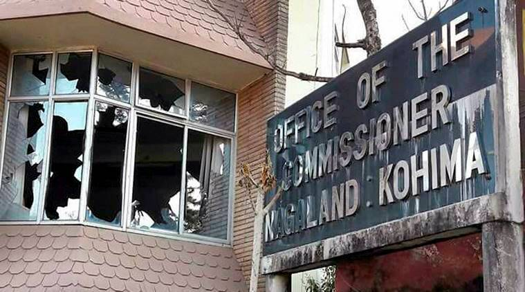 Kohima: The office of the Commissioner that was damaged by the angry protesters during their violent protest, in Kohima on Friday. PTI Photo (PTI2_3_2017_000254B)