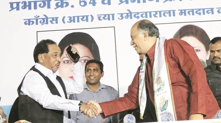 Narayan Rane and Gurudas Kamat at a Congress rally in Andheri West on Tuesday. Amit Chakravarty