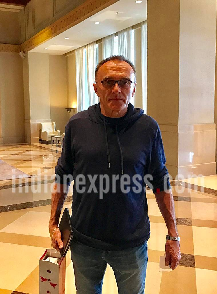 "Hollywood director Danny Boyle at Marriot hotel, Juhu after a private meeting with his movie ""Slum Dog Millionaire"" star Rubina Ali on Monday. Express photo by Nirmal Harindran, 13th February 2017, Mumbai."