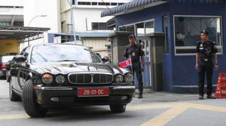The car of ambassador of North Korea to Malaysia leaves the forensic department at the hospital in Kuala Lumpur, Malaysia on Wednesday, Feb. 15, 2017. Kim Jong Nam, the half brother of North Korean leader Kim Jong Un, was killed Monday in Malaysia in what appeared to be an assassination carried out by female agents possibly armed with a poisoned needle. (AP Photo/Vincent Thian)