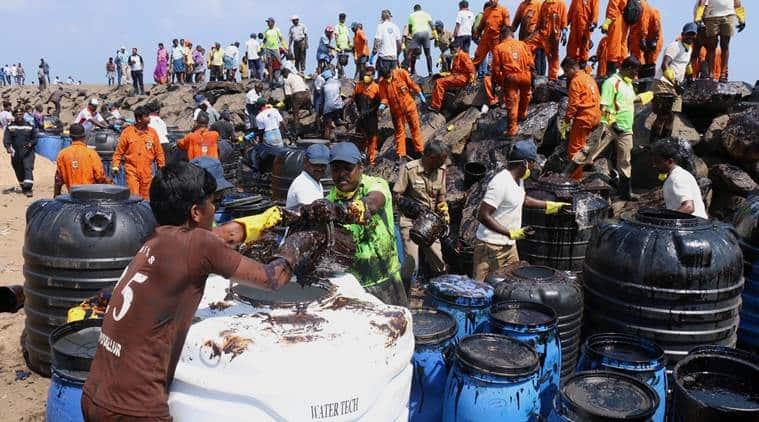 chennai oil spill, chennai ship collide, chennai ship collision, Kamarajar port, Ennore oil spill, indian express news, india news