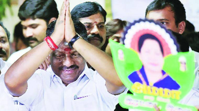 O Panneerselvam at his residence in Chennai on Friday. PTI
