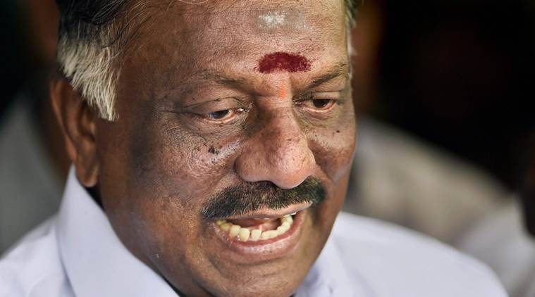 Chennai: Tamil Nadu Chief Minister O Panneerselvam addresses a press conference at his residence in Chennai on Wednesday. PTI Photo by R Senthil Kumar (PTI2_8_2017_000062A)