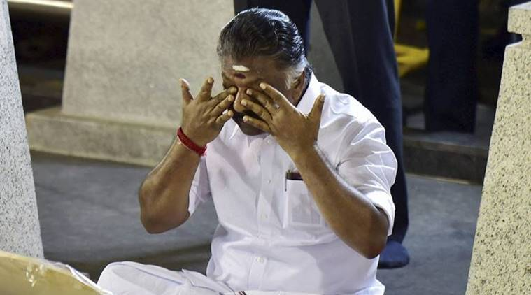 Panneerselvam meditates at Jayalalithaa memorial