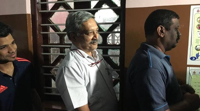 Goa elections: Manohar Parrikar waits to cast his vote. (Express photo)
