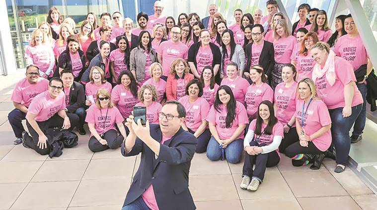 The pink shirts and T-shirts were distributed in huge numbers and Pink Shirt Day rallies held across Canada, the UK and in some other countries. Express