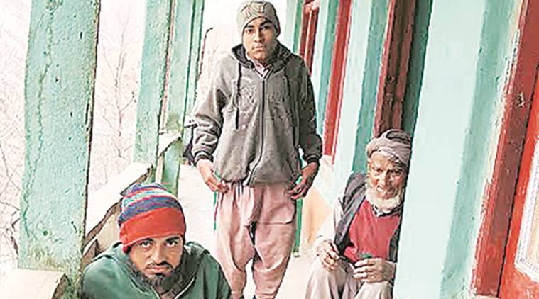 Abdul Baqi, 75, with his nephews Mohammad Aslam and Dawood at their house in Arai. Express Photo by Arun Sharma