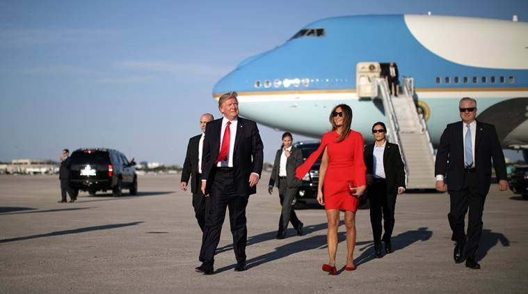 First Lady Melania Trump welcomes U.S. President Donald Trump as he arrives at West Palm Beach International airport in West Palm Beach, Florida, U.S., February 3, 2017. REUTERS/Carlos Barria