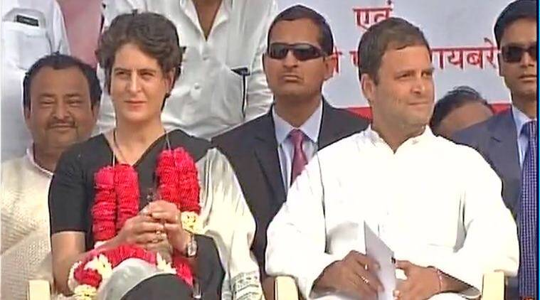 Congress VP Rahul Gandhi and Priyanka Gandhi Vadra at an election rally in Raebareli. (Source: ANI photo)