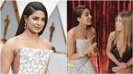 Priyanka Chopra's Oscars 2017 dress is great. It's her interview with Jennifer Aniston that's meme-worthy. Watch video