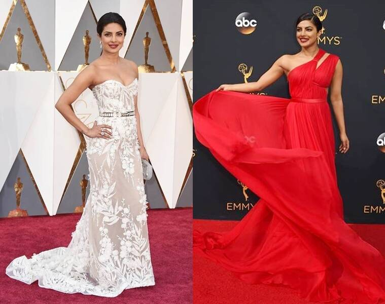 Priyanka Chopra in Zuhair Murad (L) and Jason Wu.