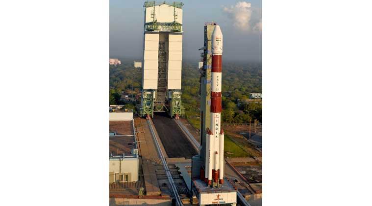 Fully integrated PSLV-C37 seen with Mobile Service Tower (Source: ISRO)