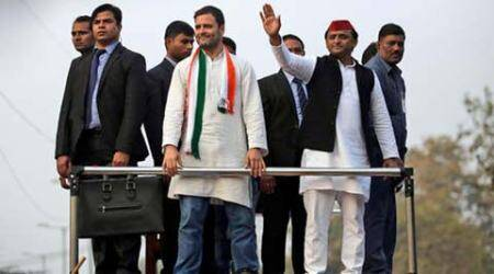 Rahul Gandhi, Akhilesh Yadav, Rahul-Akhilesh road show, Rahul-Akhilesh road show in Agra, Agra Akhilesh-Rahul road show, SP-Congress alliance, UP elections, indian express news