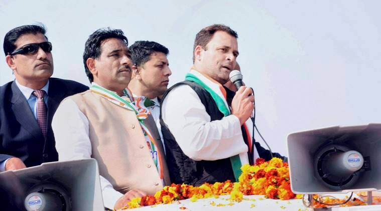 Haridwar: Congress Vice President Rahul Gandhi during a road show at Roorkee on Sunday. PTI Photo(PTI2_12_2017_000157B)