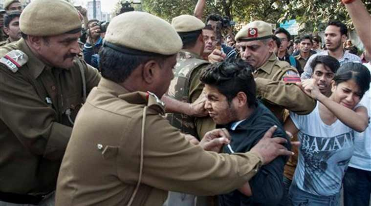 ramjas protest, abvp, anti nationals, delhi police, indian express, india news, staff meeting ramjas