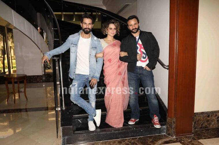 rangoon promotions, Kangana Ranaut, Shahid Kapoor, Saif Alia Khan