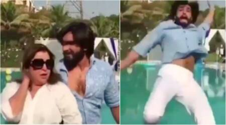 Ranveer Singh does a 'Khoon Bhari Maang' with Farah Khan and gets thrown in the swimming pool. Watch hilarious video