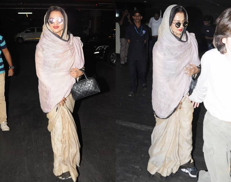 Rekha carried the sari with sports shoes look like a pro. (Source: Varinder Chawla)